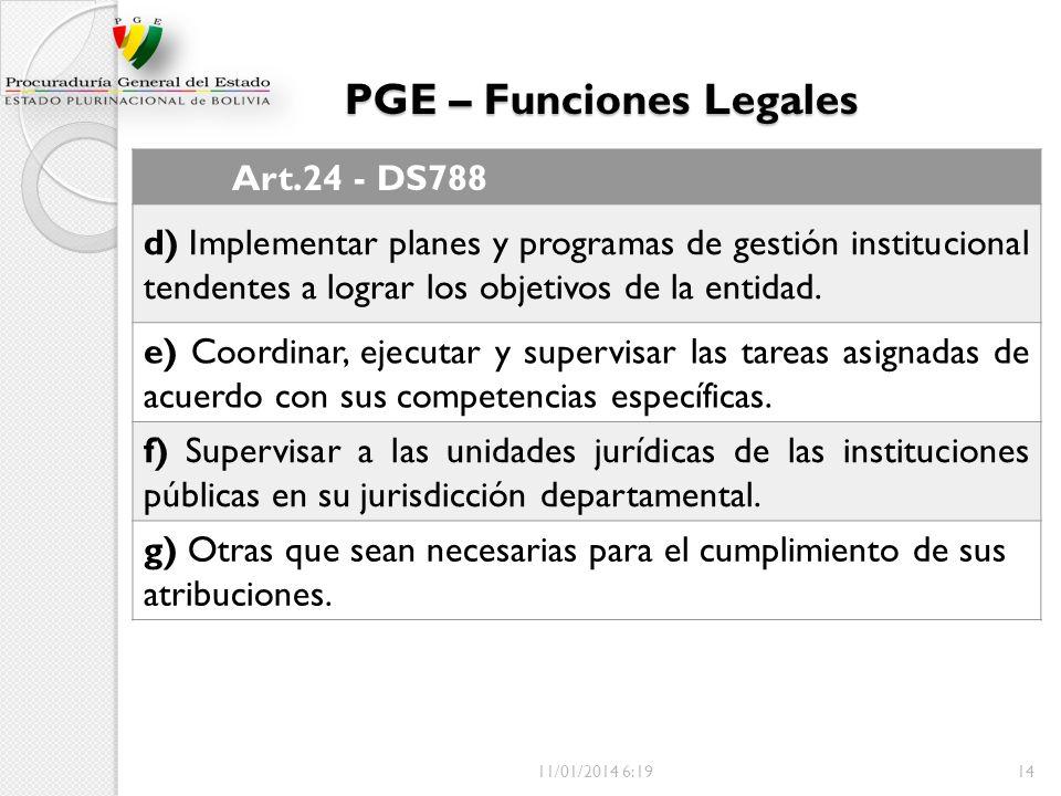 PGE – Funciones Legales Art.24 - DS788 d) Implementar planes y programas de gestión institucional tendentes a lograr los objetivos de la entidad. e) C