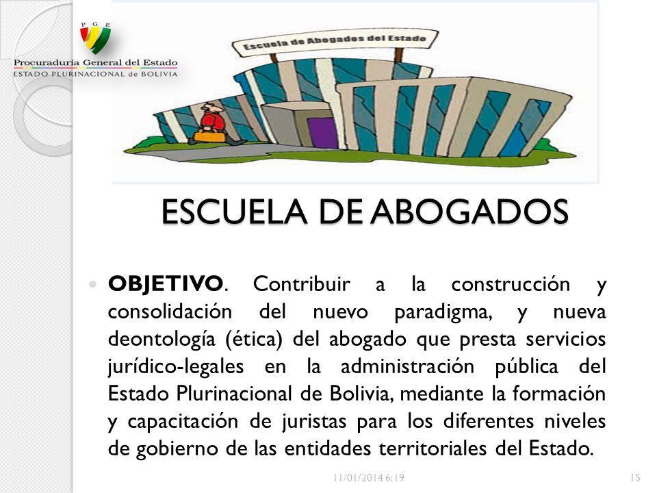 ESCUELA DE ABOGADOS OBJETIVO. Contribuir a la construcción y consolidación del nuevo paradigma, y nueva deontología (ética) del abogado que presta ser