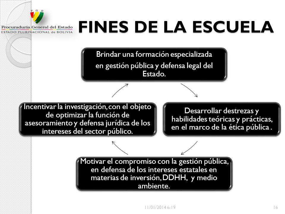 FINES DE LA ESCUELA Brindar una formación especializada en gestión pública y defensa legal del Estado. Desarrollar destrezas y habilidades teóricas y