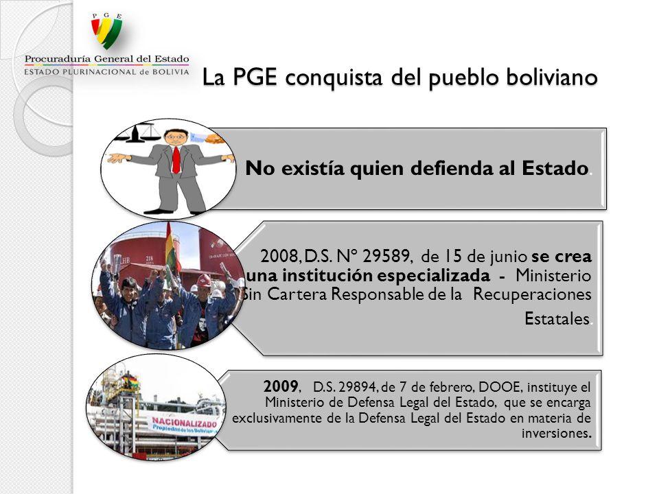 La PGE conquista del pueblo boliviano La PGE conquista del pueblo boliviano No existía quien defienda al Estado. 2008, D.S. Nº 29589, de 15 de junio s