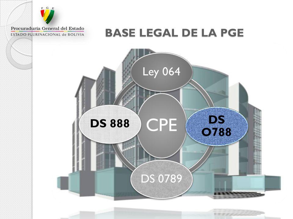 BASE LEGAL DE LA PGE CPE Ley 064 DS O788 DS 0789DS 888
