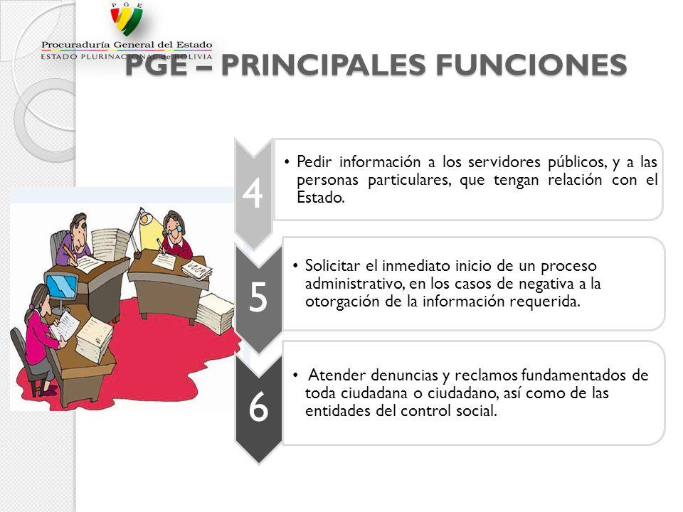PGE – PRINCIPALES FUNCIONES 4 Pedir información a los servidores públicos, y a las personas particulares, que tengan relación con el Estado. 5 Solicit