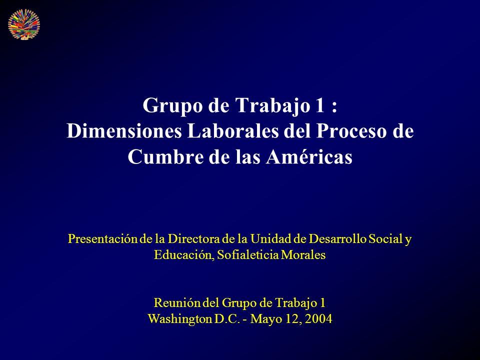 Grupo de Trabajo 1 : Dimensiones Laborales del Proceso de Cumbre de las Américas Presentación de la Directora de la Unidad de Desarrollo Social y Educ