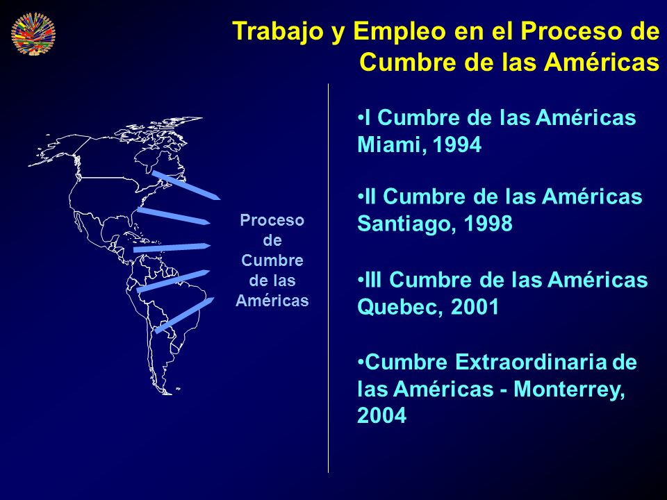 Proceso de Cumbre de las Américas I Cumbre de las Américas Miami, 1994 II Cumbre de las Américas Santiago, 1998 III Cumbre de las Américas Quebec, 200