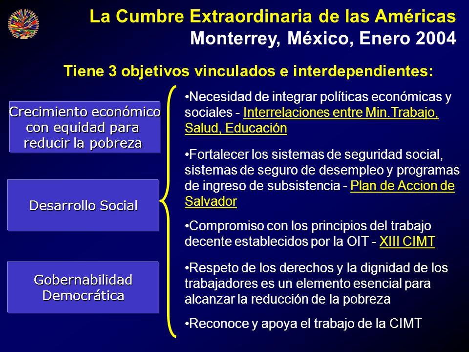 La Cumbre Extraordinaria de las Américas Monterrey, México, Enero 2004 Crecimiento económico con equidad para reducir la pobreza Tiene 3 objetivos vin