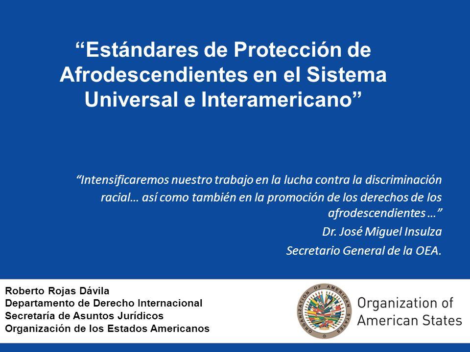 Estándares de Protección de Afrodescendientes en el Sistema Universal e Interamericano Intensificaremos nuestro trabajo en la lucha contra la discrimi