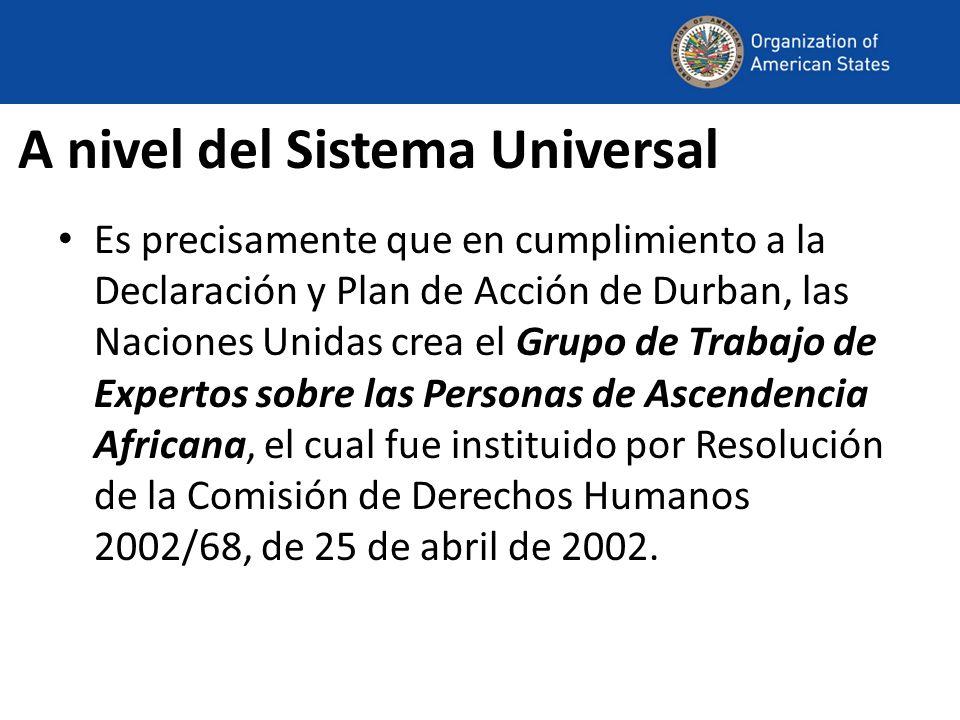A nivel del Sistema Universal Es precisamente que en cumplimiento a la Declaración y Plan de Acción de Durban, las Naciones Unidas crea el Grupo de Tr