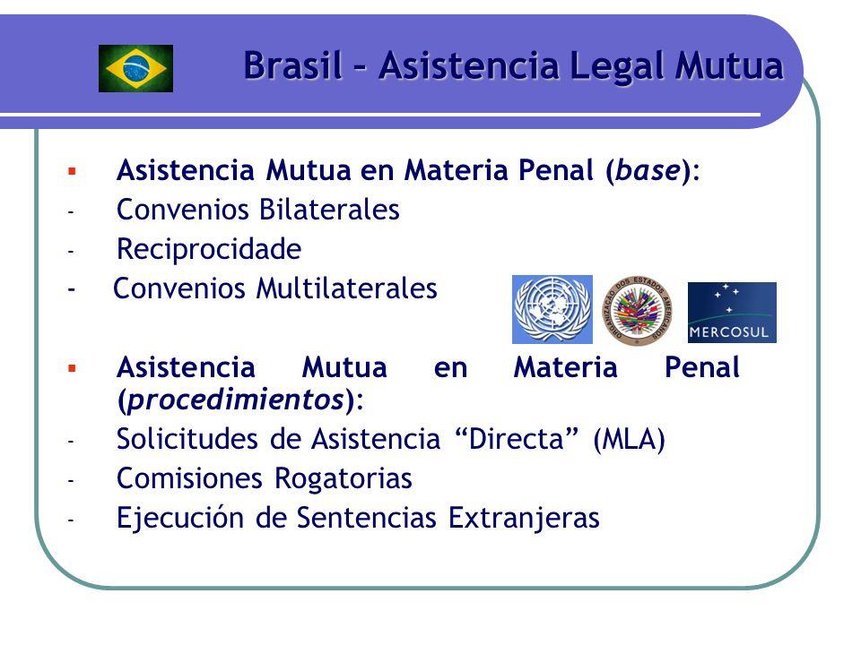 Brasil – Asistencia Legal Mutua Asistencia Mutua en Materia Penal (base): - Convenios Bilaterales - Reciprocidade - Convenios Multilaterales Asistenci