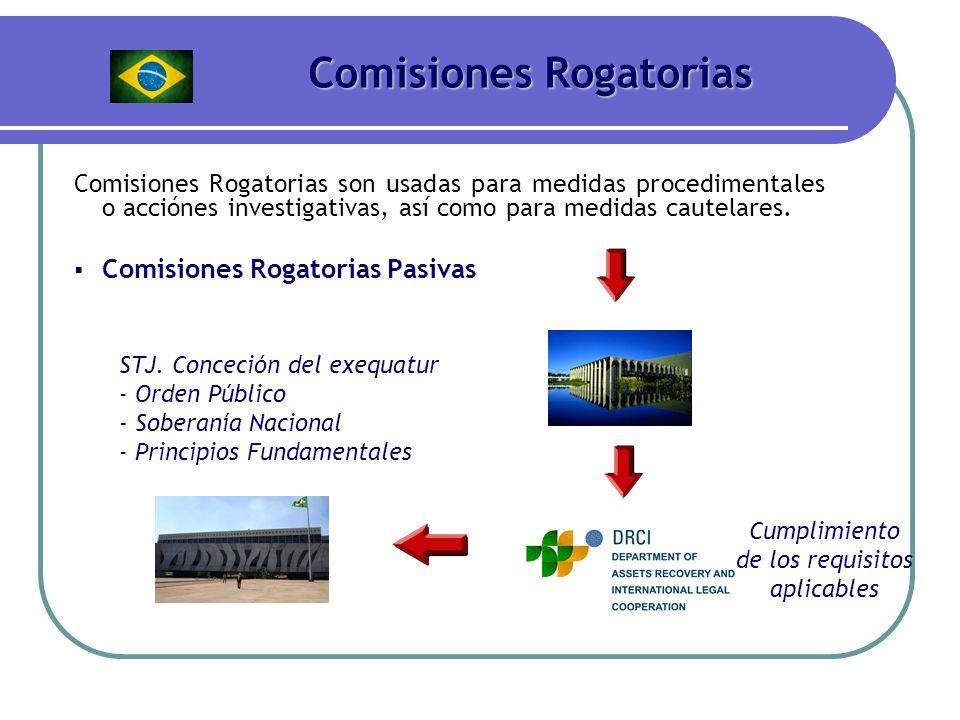 Comisiones Rogatorias Comisiones Rogatorias son usadas para medidas procedimentales o acciónes investigativas, así como para medidas cautelares. Comis