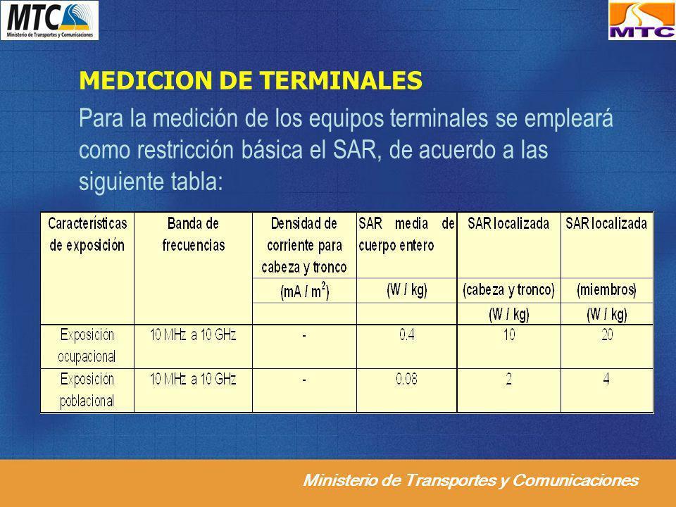 Ministerio de Transportes y Comunicaciones MEDICION DE TERMINALES Para la medición de los equipos terminales se empleará como restricción básica el SA