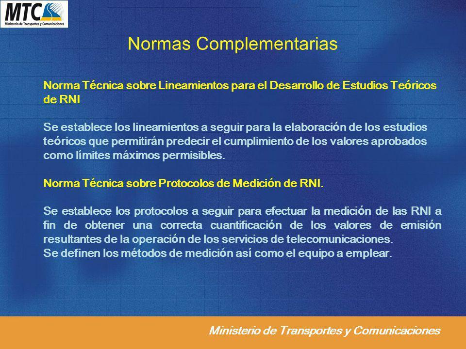 Ministerio de Transportes y Comunicaciones Normas Complementarias Norma Técnica sobre Lineamientos para el Desarrollo de Estudios Teóricos de RNI Se e