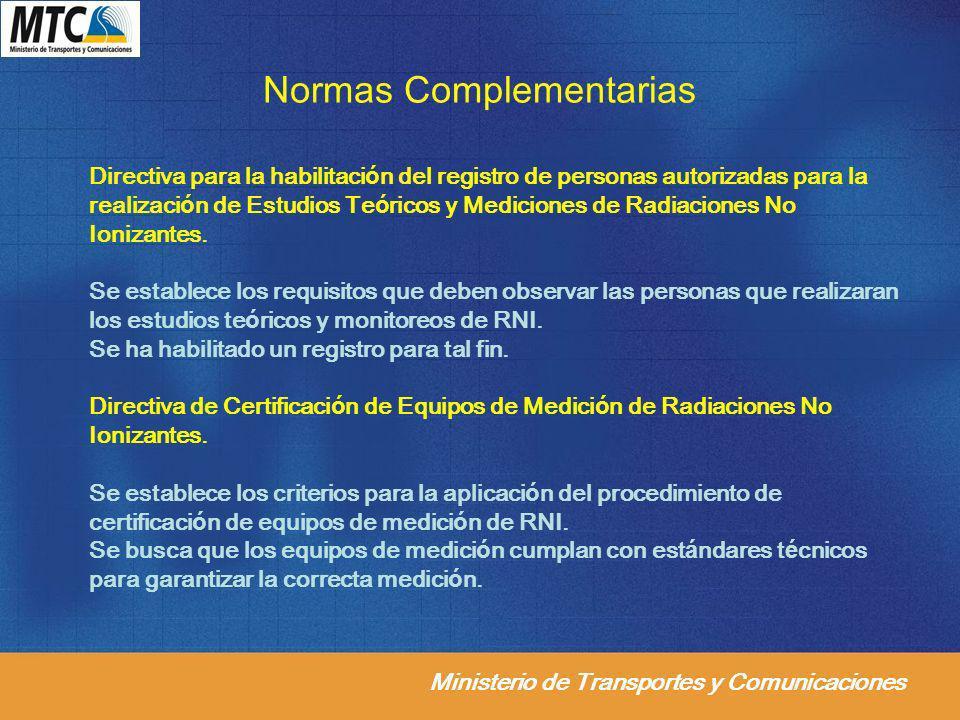 Ministerio de Transportes y Comunicaciones Normas Complementarias Directiva para la habilitación del registro de personas autorizadas para la realizac