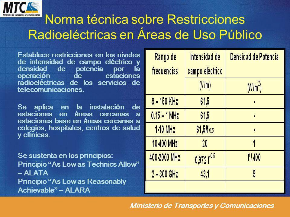 Ministerio de Transportes y Comunicaciones Norma técnica sobre Restricciones Radioeléctricas en Áreas de Uso Público Establece restricciones en los ni