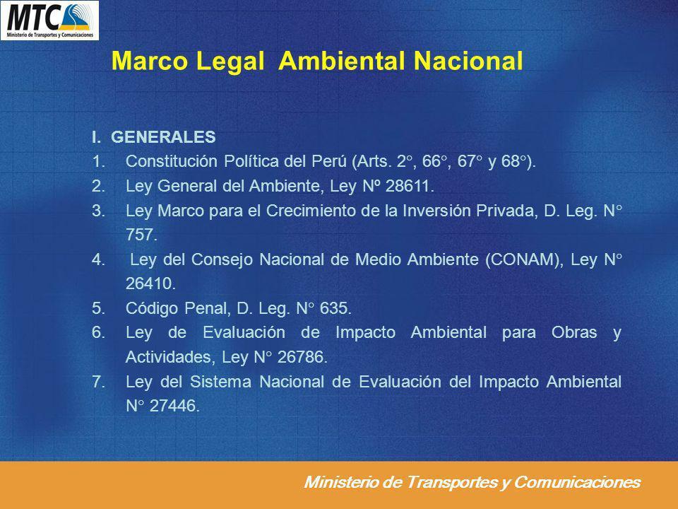Ministerio de Transportes y Comunicaciones Marco Legal Ambiental Nacional I. GENERALES 1.Constitución Política del Perú (Arts. 2°, 66°, 67° y 68°). 2.