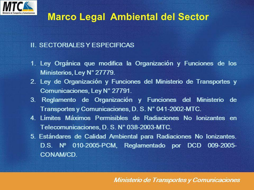Ministerio de Transportes y Comunicaciones II. SECTORIALES Y ESPECIFICAS 1.Ley Orgánica que modifica la Organización y Funciones de los Ministerios, L
