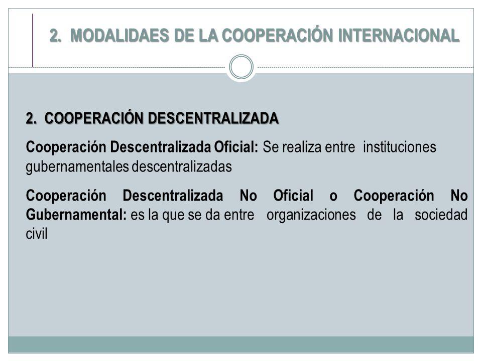 2. COOPERACIÓN DESCENTRALIZADA Cooperación Descentralizada Oficial: Se realiza entre instituciones gubernamentales descentralizadas Cooperación Descen