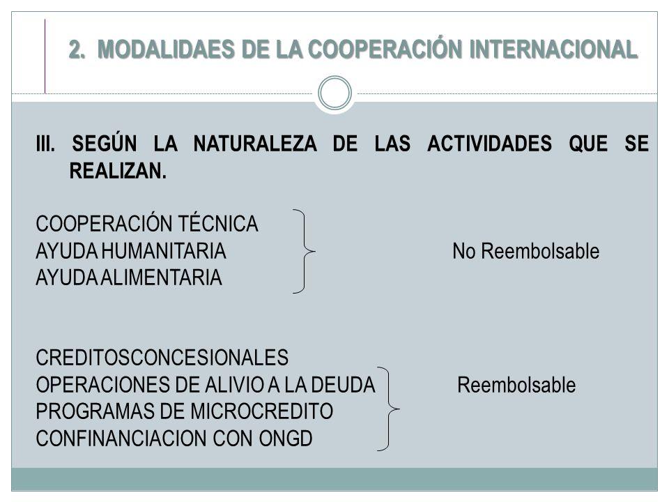 III. SEGÚN LA NATURALEZA DE LAS ACTIVIDADES QUE SE REALIZAN. COOPERACIÓN TÉCNICA AYUDA HUMANITARIA No Reembolsable AYUDA ALIMENTARIA CREDITOSCONCESION
