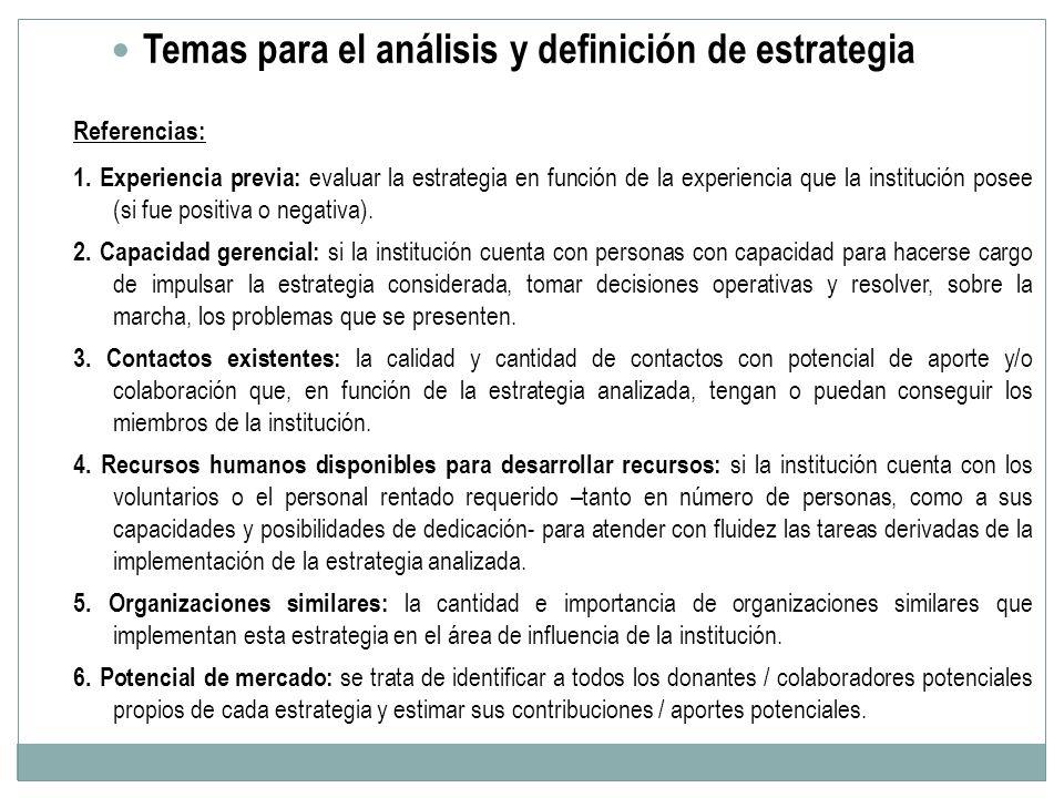 Temas para el análisis y definición de estrategia Referencias: 1. Experiencia previa: evaluar la estrategia en función de la experiencia que la instit