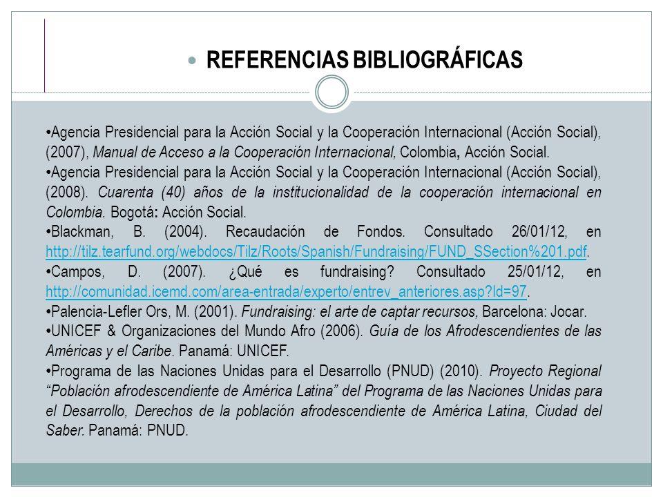 REFERENCIAS BIBLIOGRÁFICAS Agencia Presidencial para la Acción Social y la Cooperación Internacional (Acción Social), (2007), Manual de Acceso a la Co