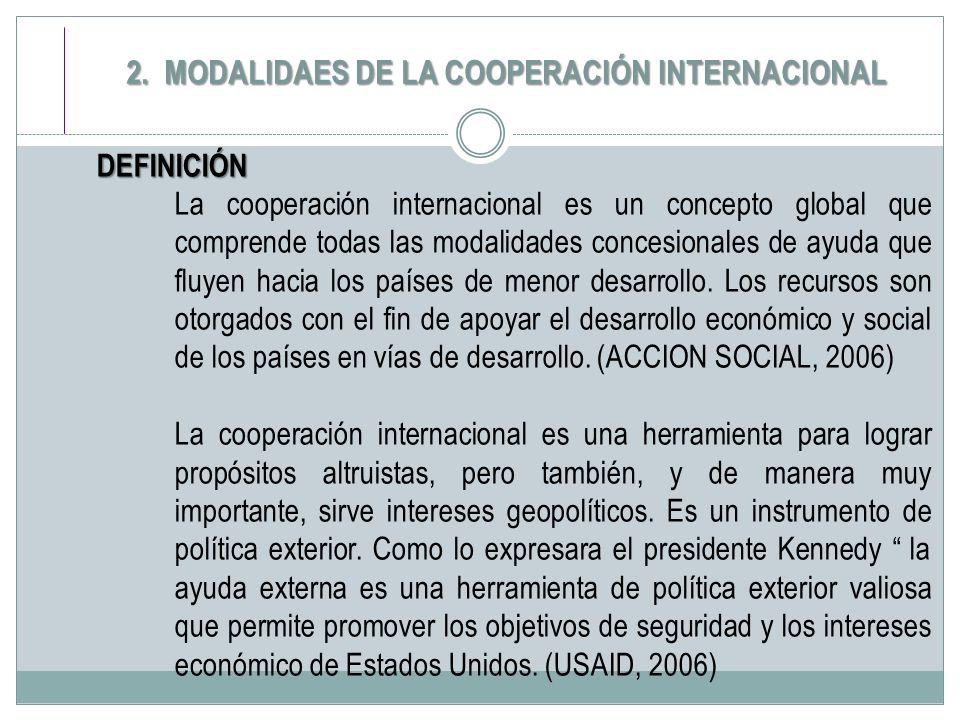 2. MODALIDAES DE LA COOPERACIÓN INTERNACIONAL DEFINICIÓN La cooperación internacional es un concepto global que comprende todas las modalidades conces