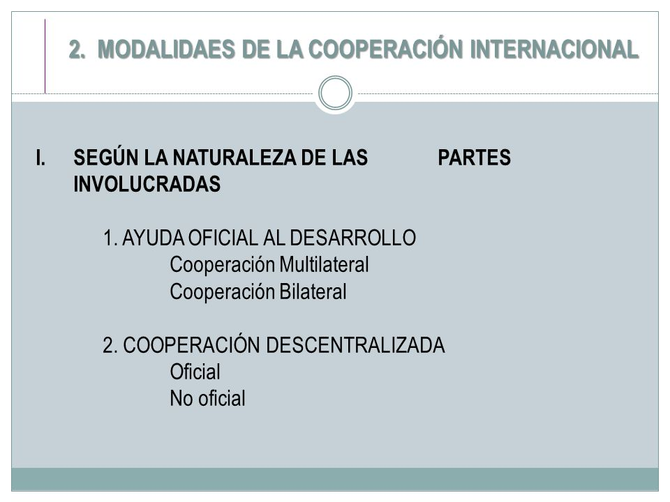 I.SEGÚN LA NATURALEZA DE LAS PARTES INVOLUCRADAS 1. AYUDA OFICIAL AL DESARROLLO Cooperación Multilateral Cooperación Bilateral 2. COOPERACIÓN DESCENTR