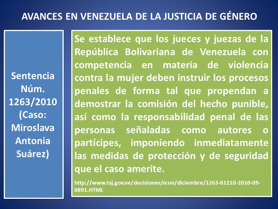 Se establece que los jueces y juezas de la República Bolivariana de Venezuela con competencia en materia de violencia contra la mujer deben instruir l