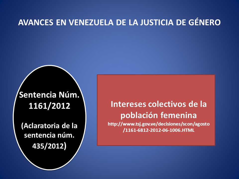 AVANCES EN VENEZUELA DE LA JUSTICIA DE GÉNERO Sentencia Núm. 1161/2012 (Aclaratoria de la sentencia núm. 435/2012 ) Intereses colectivos de la poblaci