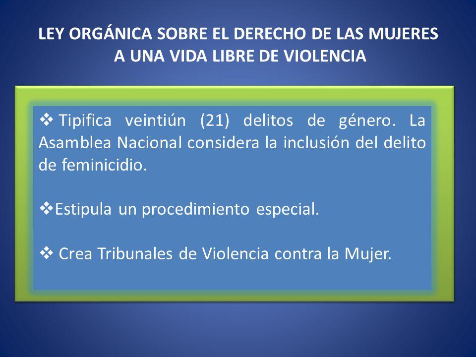 LEY ORGÁNICA SOBRE EL DERECHO DE LAS MUJERES A UNA VIDA LIBRE DE VIOLENCIA Tipifica veintiún (21) delitos de género. La Asamblea Nacional considera la