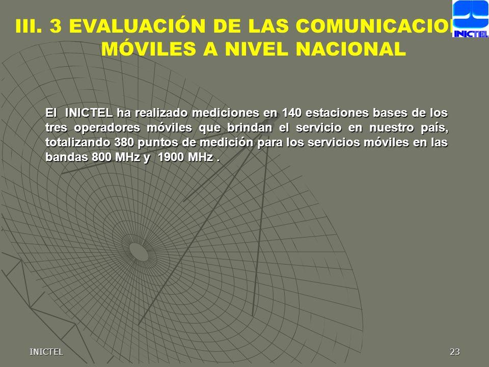 INICTEL23 III. 3 EVALUACIÓN DE LAS COMUNICACIONES MÓVILES A NIVEL NACIONAL El INICTEL ha realizado mediciones en 140 estaciones bases de los tres oper