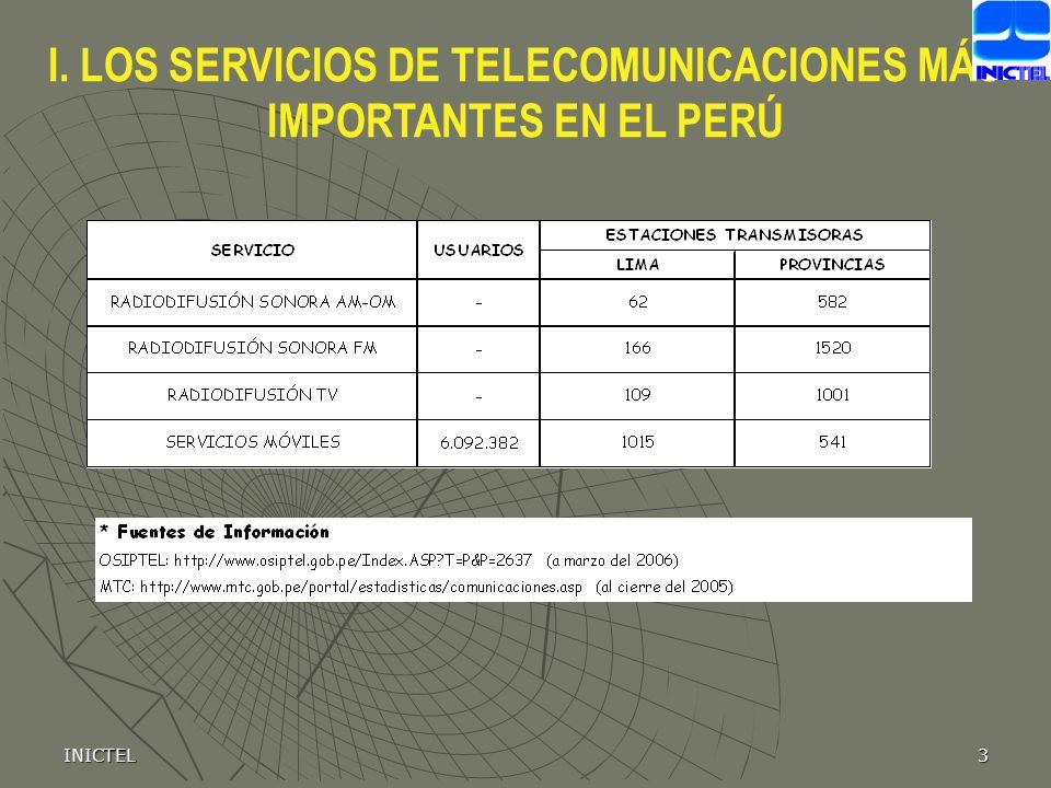 INICTEL3 I. LOS SERVICIOS DE TELECOMUNICACIONES MÁS IMPORTANTES EN EL PERÚ