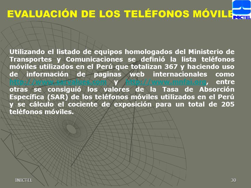 INICTEL30 EVALUACIÓN DE LOS TELÉFONOS MÓVILES Utilizando el listado de equipos homologados del Ministerio de Transportes y Comunicaciones se definió l