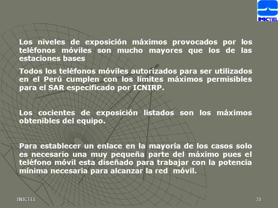 INICTEL31 Los niveles de exposición máximos provocados por los teléfonos móviles son mucho mayores que los de las estaciones bases Todos los teléfonos móviles autorizados para ser utilizados en el Perú cumplen con los límites máximos permisibles para el SAR especificado por ICNIRP.