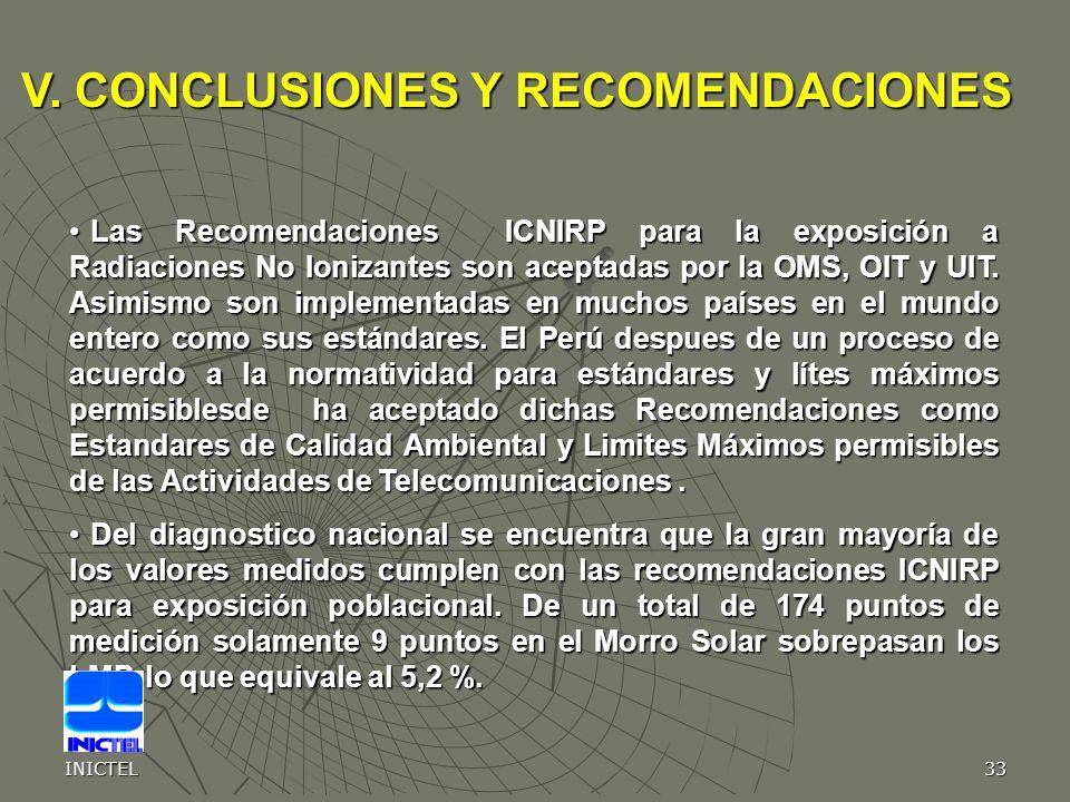 INICTEL33 Las Recomendaciones ICNIRP para la exposición a Radiaciones No Ionizantes son aceptadas por la OMS, OIT y UIT. Asimismo son implementadas en