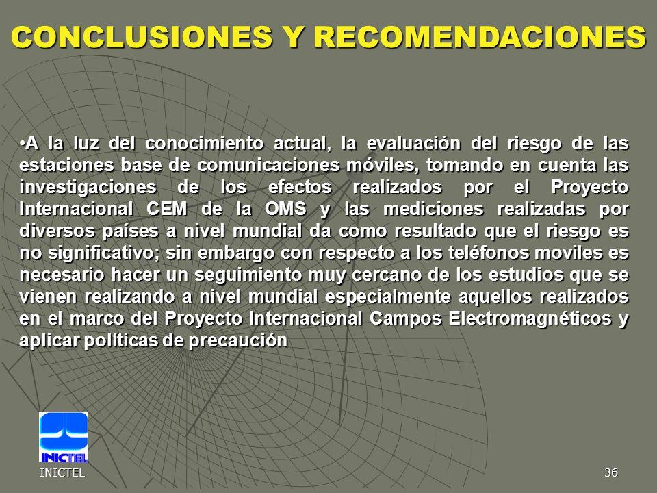 INICTEL36 A la luz del conocimiento actual, la evaluación del riesgo de las estaciones base de comunicaciones móviles, tomando en cuenta las investiga
