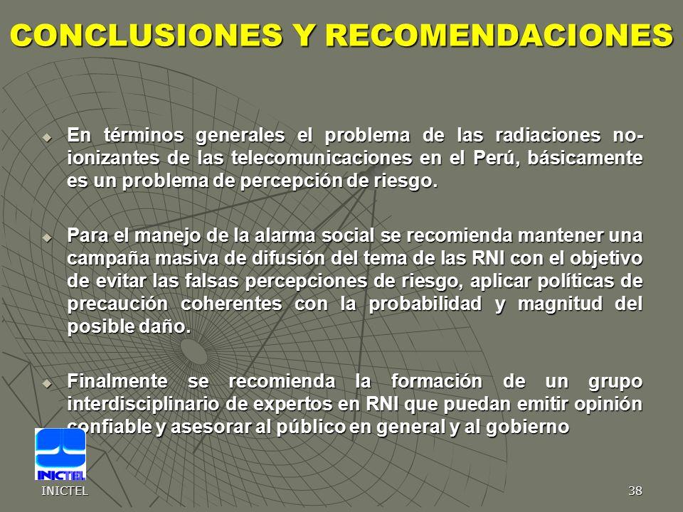 INICTEL38 CONCLUSIONES Y RECOMENDACIONES En términos generales el problema de las radiaciones no- ionizantes de las telecomunicaciones en el Perú, bás