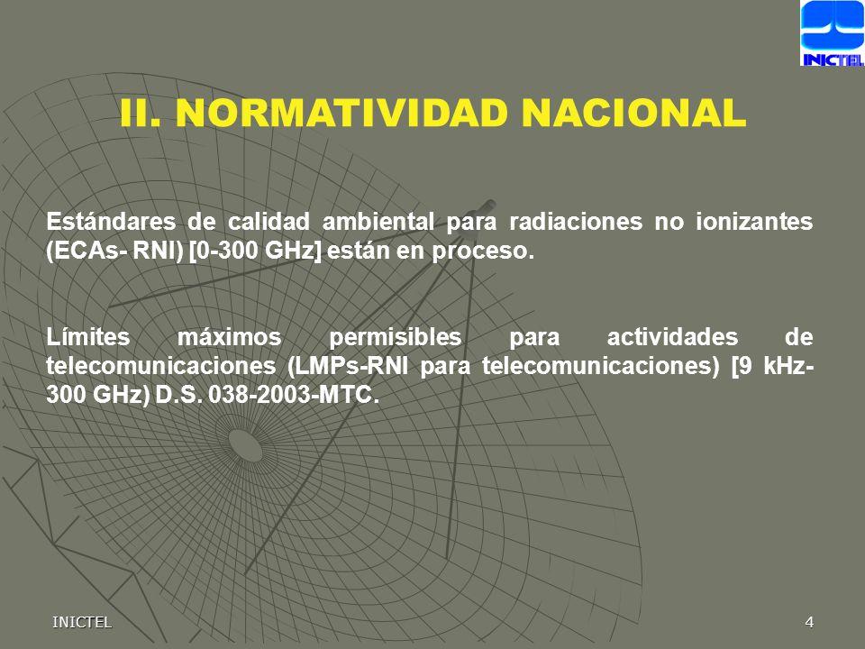 INICTEL4 Estándares de calidad ambiental para radiaciones no ionizantes (ECAs- RNI) [0-300 GHz] están en proceso. Límites máximos permisibles para act