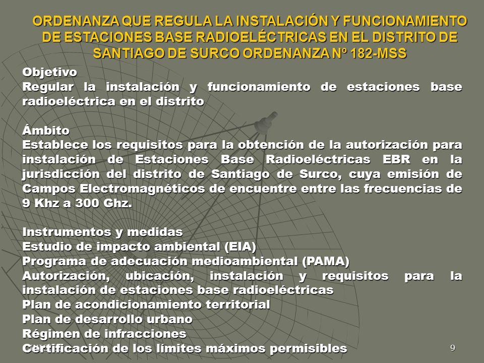 INICTEL9 Objetivo Regular la instalación y funcionamiento de estaciones base radioeléctrica en el distrito Ámbito Establece los requisitos para la obt