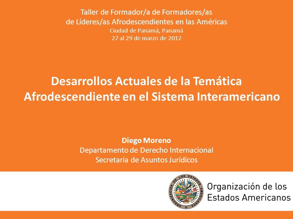 Taller de Formador/a de Formadores/as de Líderes/as Afrodescendientes en las Américas Ciudad de Panamá, Panamá 27 al 29 de marzo de 2012 Desarrollos A