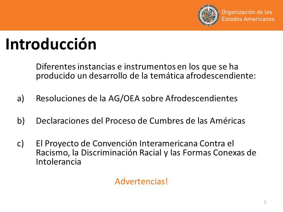3 Introducción Diferentes instancias e instrumentos en los que se ha producido un desarrollo de la temática afrodescendiente: a)Resoluciones de la AG/