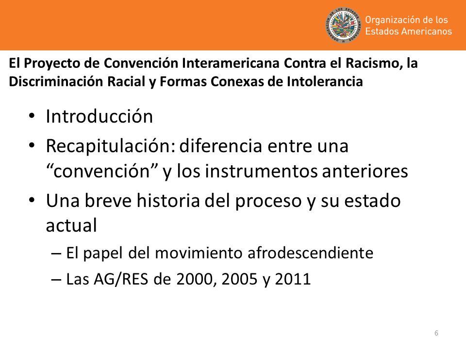 6 El Proyecto de Convención Interamericana Contra el Racismo, la Discriminación Racial y Formas Conexas de Intolerancia Introducción Recapitulación: d