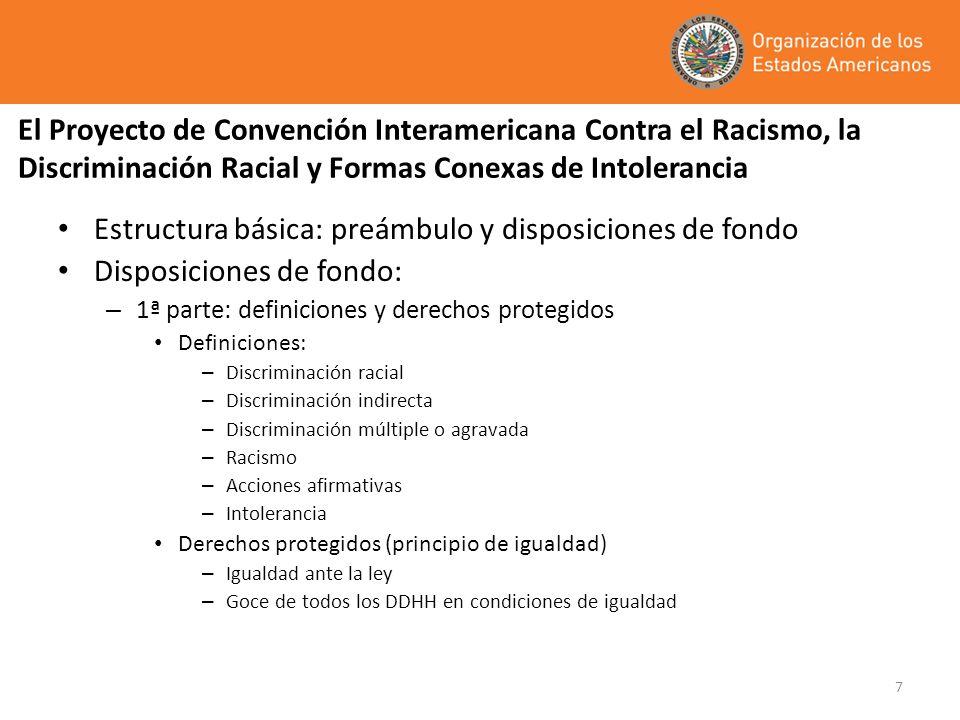 7 El Proyecto de Convención Interamericana Contra el Racismo, la Discriminación Racial y Formas Conexas de Intolerancia Estructura básica: preámbulo y
