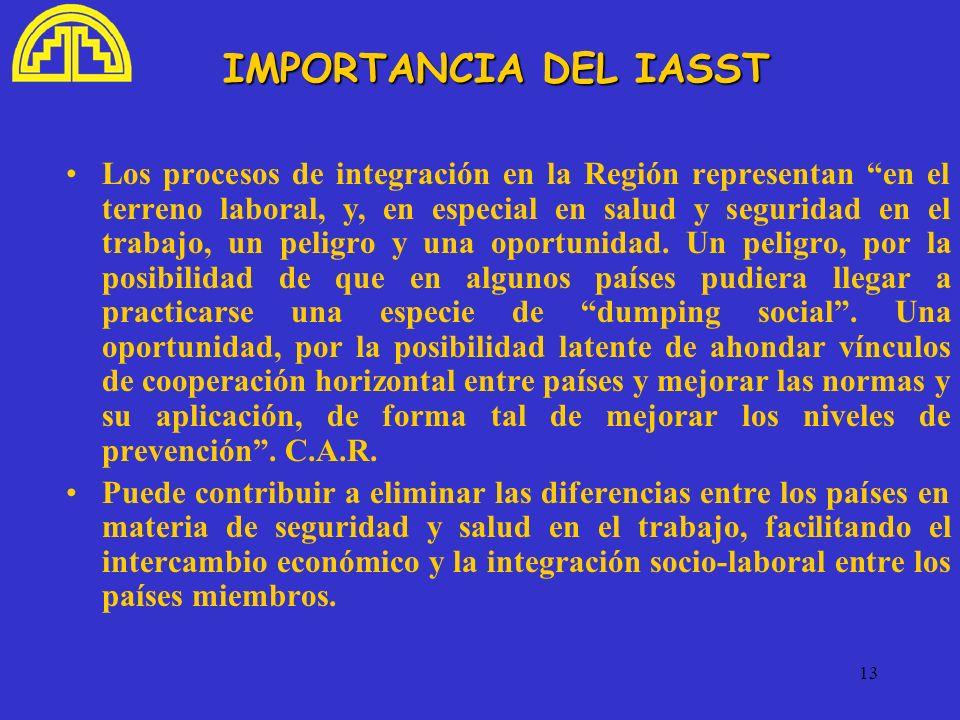 13 IMPORTANCIA DEL IASST Los procesos de integración en la Región representan en el terreno laboral, y, en especial en salud y seguridad en el trabajo