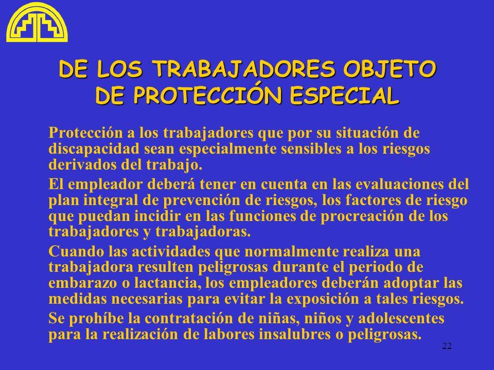22 DE LOS TRABAJADORES OBJETO DE PROTECCIÓN ESPECIAL Protección a los trabajadores que por su situación de discapacidad sean especialmente sensibles a