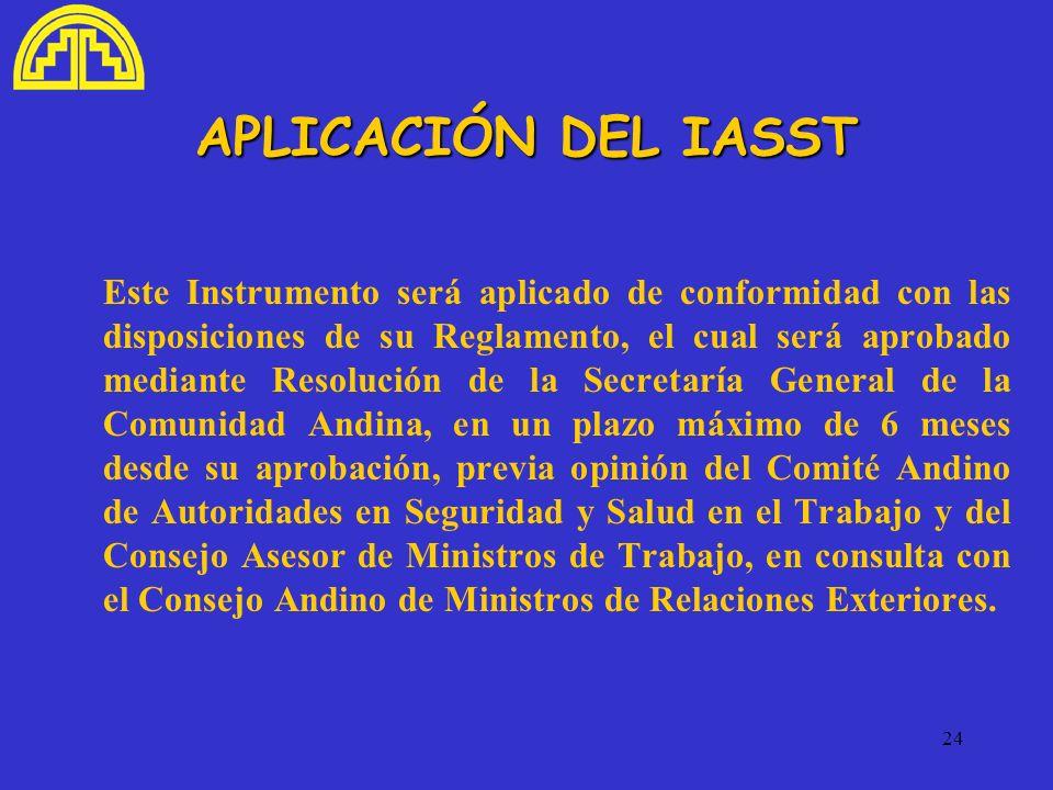 24 APLICACIÓN DEL IASST Este Instrumento será aplicado de conformidad con las disposiciones de su Reglamento, el cual será aprobado mediante Resolució