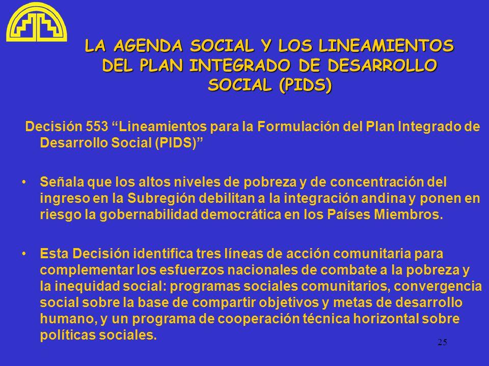 25 LA AGENDA SOCIAL Y LOS LINEAMIENTOS DEL PLAN INTEGRADO DE DESARROLLO SOCIAL (PIDS) Decisión 553 Lineamientos para la Formulación del Plan Integrado