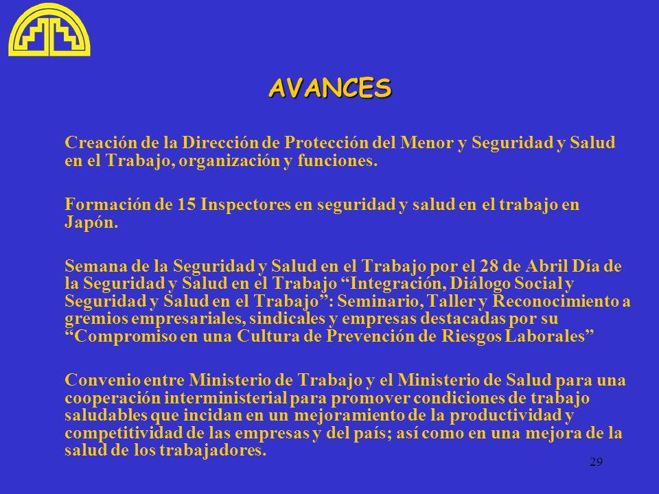 29 AVANCES Creación de la Dirección de Protección del Menor y Seguridad y Salud en el Trabajo, organización y funciones. Formación de 15 Inspectores e