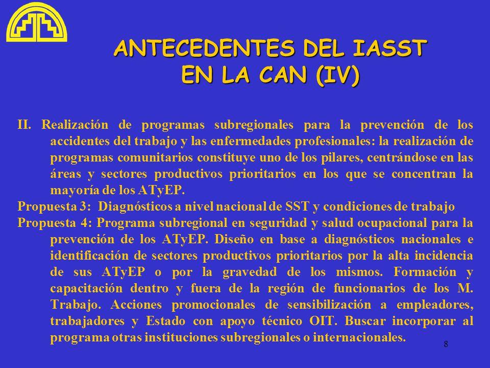 8 ANTECEDENTES DEL IASST EN LA CAN (IV) II. Realización de programas subregionales para la prevención de los accidentes del trabajo y las enfermedades