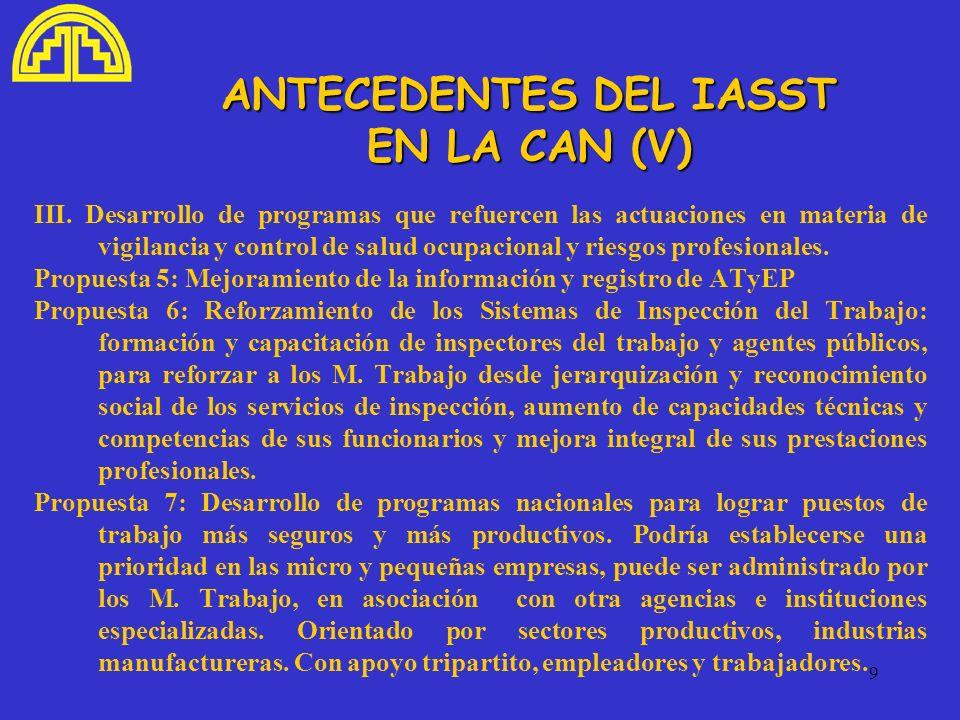 9 ANTECEDENTES DEL IASST EN LA CAN (V) III. Desarrollo de programas que refuercen las actuaciones en materia de vigilancia y control de salud ocupacio