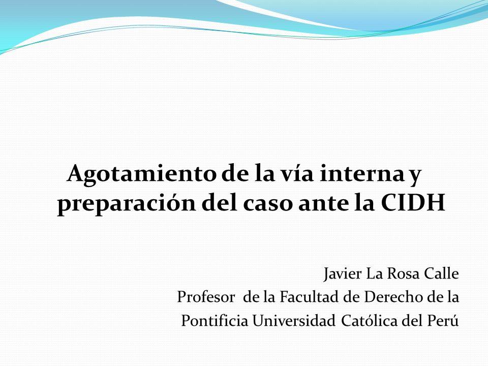Agotamiento de la vía interna y preparación del caso ante la CIDH Javier La Rosa Calle Profesor de la Facultad de Derecho de la Pontificia Universidad Católica del Perú