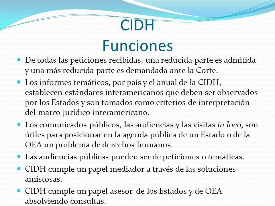 CIDH Funciones De todas las peticiones recibidas, una reducida parte es admitida y una más reducida parte es demandada ante la Corte.